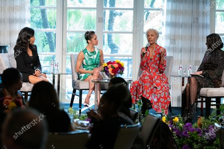 Stock Picture of Emma Grede, Misty Copeland, Deborah Santana and Noora Raj Brown speak during at 'A World Of Good' presented by In A Perfect World at the Four Season in Beverly Hills