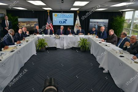 Arnold Donald, CEO of Carnival Corporation, Adam Goldstein, Chairman of Cruise line International Association, Dr. Robert Redfield, CDC Director, Sen. Rick Scott, Chad F. Wolf, the acting Secretary of Homeland Security, U.S. Vice President Mike Pence, Florida Governor Ron DeSantis, Sen. Marco Rubio, Eric Jones, Rear Admiral, Ted Deutch, Congressman, Richard Fain, Chairman of Royal Caribbean Internatinal LTD and Frank Del Rio, CEO of Norwegian Cruise Line Holding sit together during a discussion with Cruise Line Company Leaders about possible coronavirus issues that the cruise line company leaders are experiencing at Port Everglades Administration Building