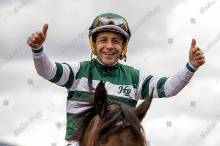 Victor Espinoza and Flagstaff after winning the San Carlos Stakes at Santa Anita Park in Arcadia, California on Evers/Eclipse Sportswire/CSM