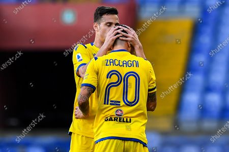 Hellas Verona's Mattia Zaccagni (front) celebrates with teammate Valerio Verre after scoring during the Italian Serie A soccer match UC Sampdoria vs Hellas Verona FC at Luigi Ferraris stadium in Genoa, Italy, 08 March 2020.