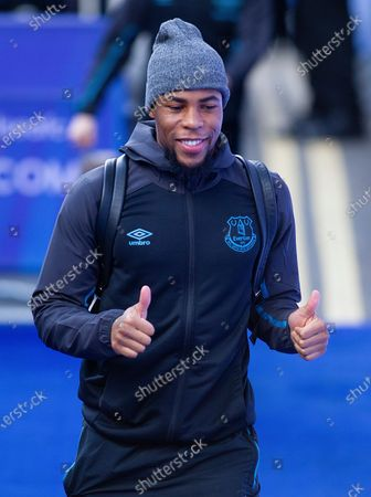 Djibril Sidibe of Everton enters Stamford Bridge for the Premier League match against Chelsea