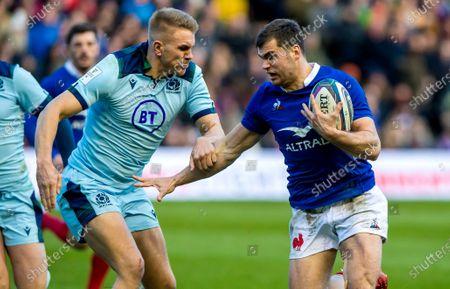 Scotland vs France. Scotland's Chris Harris on France's Damian Penaud