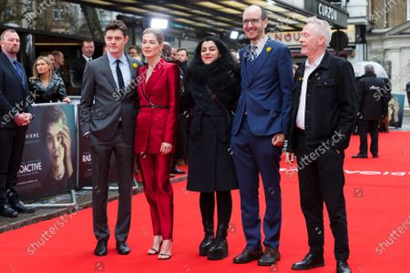 Sam Riley, British actress Rosamund Pike, French-Iranian director Marjane Satrapi, British screenwriter Jack Thorne and British film producer Paul Webster attend the UK premiere of 'Radioactive' at Curzon Mayfair in London, Britain, 08 March 2020, on International Women's Day. The movie celebrates the pioneering work of the Polish scientist Marie Curie and will be released in British cinemas on 20 March 2020.