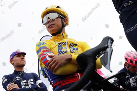 Colombian rider Sergio Andres Higuita (R) of the EF Pro Cycling team and his US teammate Tejay Van Garderen (L) prior to the first stage of the Paris-Nice cycling race over 154km from Plaisir to Plaisir, France, 08 March 2020.