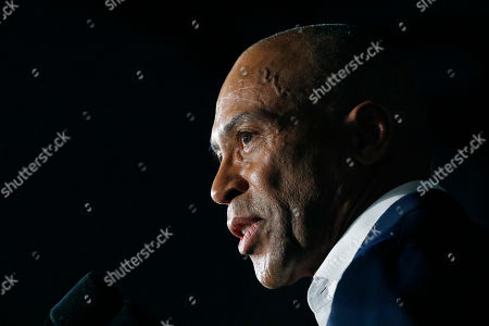 Former Massachusetts governor and presidential candidate Deval Patrick stumps for Democratic presidential candidate and former Vice President Joe Biden at Tougaloo College in Tougaloo, Miss