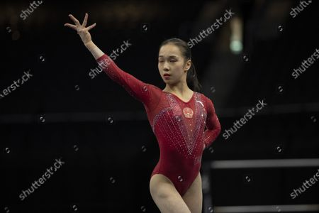 Gymnast Jin Zhang (CHN) competes during the women's all-around competition at the American Cup, held in Milwaukee, WI. Melissa J
