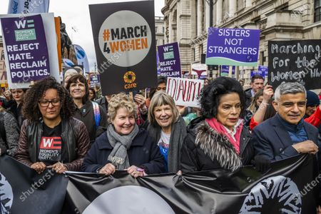 Key supporters including Bianca Jagger, Jude Kelly, Sandi Toksvig, and Sadiq Khan - #March4Women 2020, a march and rally in London to celebrate International Women's Day and the power and passion of women and girls who are on the frontline of responding to climate change. Organised by Care International the march started in Whitehall and ended in a rally in Parliament Square. CARE International works around the globe to save lives, defeat poverty and achieve social justice and #March4Women is a global movement for gender equality.
