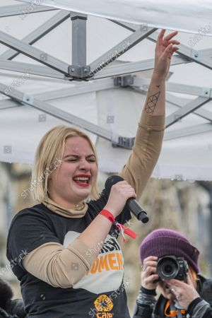 Lapsley - #March4Women 2020, a march and rally in London to celebrate International Women's Day and the power and passion of women and girls who are on the frontline of responding to climate change. Organised by Care International the march started in Whitehall and ended in a rally in Parliament Square. CARE International works around the globe to save lives, defeat poverty and achieve social justice and #March4Women is a global movement for gender equality.