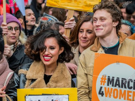 Key supporters including Raye and George MacKay - #March4Women 2020, a march and rally in London to celebrate International Women's Day and the power and passion of women and girls who are on the frontline of responding to climate change. Organised by Care International the march started in Whitehall and ended in a rally in Parliament Square. CARE International works around the globe to save lives, defeat poverty and achieve social justice and #March4Women is a global movement for gender equality.