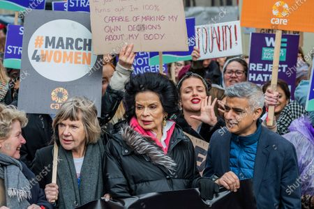Key supporters including Bianca Jagger, Sandi Toksvig, Sadiq Khan and Jude Kelly - #March4Women 2020, a march and rally in London to celebrate International Women's Day and the power and passion of women and girls who are on the frontline of responding to climate change. Organised by Care International the march started in Whitehall and ended in a rally in Parliament Square. CARE International works around the globe to save lives, defeat poverty and achieve social justice and #March4Women is a global movement for gender equality.