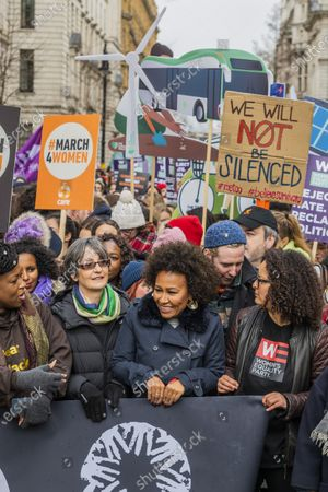 Key supporters including Emeli Sande and Helen Pankhurst - #March4Women 2020, a march and rally in London to celebrate International Women's Day and the power and passion of women and girls who are on the frontline of responding to climate change. Organised by Care International the march started in Whitehall and ended in a rally in Parliament Square. CARE International works around the globe to save lives, defeat poverty and achieve social justice and #March4Women is a global movement for gender equality.