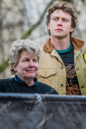 Sandi Toksvig and George MacKay - #March4Women 2020, a march and rally in London to celebrate International Women's Day and the power and passion of women and girls who are on the frontline of responding to climate change. Organised by Care International the march started in Whitehall and ended in a rally in Parliament Square. CARE International works around the globe to save lives, defeat poverty and achieve social justice and #March4Women is a global movement for gender equality.