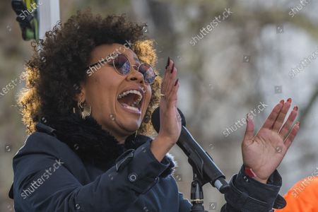 Emeli Sande sings - #March4Women 2020, a march and rally in London to celebrate International Women's Day and the power and passion of women and girls who are on the frontline of responding to climate change. Organised by Care International the march started in Whitehall and ended in a rally in Parliament Square. CARE International works around the globe to save lives, defeat poverty and achieve social justice and #March4Women is a global movement for gender equality.