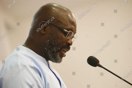 Liberian president George Manneh Weah  speaks during the official launch of the 'Ellen Johnson Sirleaf Presidential Center for Women and Development' on the occasion of the International Women's Day at the Farmington Conference Hall in Margibi County, Liberia, 08  March 2020. Liberia's president George Weah and former presidents Joyce Banda of Malawi , Catherine Samba-Panza of Central Africa Republic, Olusegun Obasango of Nigeria and other international and local dignitaries were in attendance of the historic launch. The Ellen Johnson Sirleaf Presidential Center is an initiative to groom women in leadership for change across the African continent.
