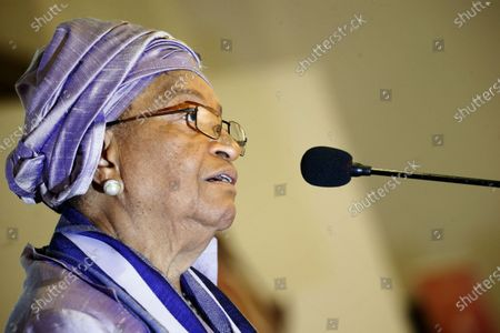 Former Liberian president Ellen Johnson-Sirleaf speaks during the official launch of the 'Ellen Johnson Sirleaf Presidential Center for Women and Development' on the occasion of the International Women's Day at the Farmington Conference Hall in Margibi County, Liberia, 08  March 2020. Liberia's president George Weah and former presidents Joyce Banda of Malawi , Catherine Samba-Panza of Central Africa Republic, Olusegun Obasango of Nigeria and other international and local dignitaries were in attendance of the historic launch. The Ellen Johnson Sirleaf Presidential Center is an initiative to groom women in leadership for change across the African continent.