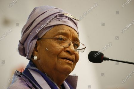 Former Liberian president Ellen Johnson-Sirleaf speaks during the official launch of the 'Ellen Johnson Sirleaf Presidential Center for Women and Development' on the occasion  of the International Women's Day at the Farmington Conference Hall in Margibi County, Liberia, 08 March 2020. Liberia's president George Weah and former presidents, Joyce Banda of Malawi, Catherine Samba-Panza of Central Africa Republic, Olusegun Obasango of Nigeria and other international and local dignitaries were in attendance of the historic launch. The Ellen Johnson Sirleaf Presidential Center is an initiative to groom women in leadership for change across the African continent.