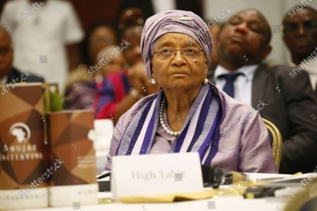 Former Liberian president Ellen Johnson-Sirleaf listens during the official launch of the 'Ellen Johnson Sirleaf Presidential Center for Women and Development' on the occasion  of the International Women's Day at the Farmington Conference Hall in Margibi County, Liberia, 08 March 2020. Liberia's president George Weah and former presidents, Joyce Banda of Malawi, Catherine Samba-Panza of Central Africa Republic, Olusegun Obasango of Nigeria and other international and local dignitaries were in attendance of the historic launch. The Ellen Johnson Sirleaf Presidential Center is an initiative to groom women in leadership for change across the African continent.
