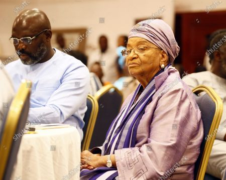 Liberian president George Weah (L) and  former Liberian president Ellen Johnson-Sirleaf talk during the official launch of the 'Ellen Johnson Sirleaf Presidential Center for Women and Development' on the occasion  of the International Women's Day at the Farmington Conference Hall in Margibi County, Liberia, 08 March 2020. Liberia's president George Weah and former presidents, Joyce Banda of Malawi, Catherine Samba-Panza of Central Africa Republic, Olusegun Obasango of Nigeria and other international and local dignitaries were in attendance of the historic launch. The Ellen Johnson Sirleaf Presidential Center is an initiative to groom women in leadership for change across the African continent.