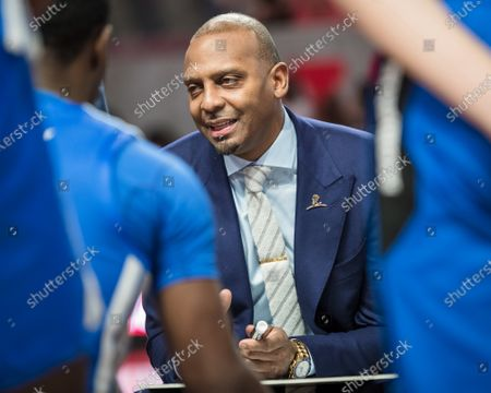 Stock Picture of Memphis Tigers head coach Anfernee ''Penny'' Hardaway speaks to his team during a timeout in the NCAA basketball game between the Memphis Tigers and the Houston Cougars at the Fertitta Center in Houston, Texas. Houston defeated Memphis 64-57. Prentice C