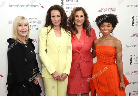 Nancy D. O'Reilly, Andie MacDowell, Kelly Vlahakis-Hanks, Logan Browning. Dr. Nancy D. O'Reilly, from left, Andie MacDowell, Kelly Vlahakis-Hanks and Logan Browning arrive at the Eighth Annual Women Making History Awards at the Skirball Cultural Center, in Los Angeles