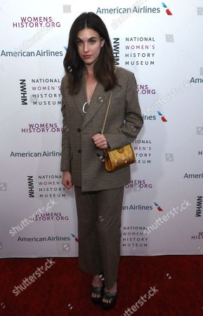 Stock Image of Rainey Qualley arrives at the Eighth Annual Women Making History Awards at the Skirball Cultural Center, in Los Angeles