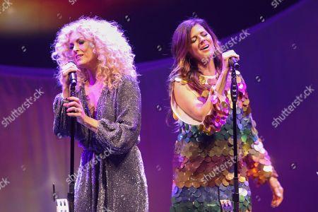 Karen Fairchild, Kimberly Schlapman. Karen Fairchild and Kimberly Schlapman with Little Big Town performs at the Fox Theatre, in Atlanta
