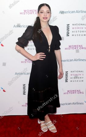 Stock Image of Canadian actress Anna Hopkins arrives on the red carpet for the Eighth Annual Women Making History Awards at the Skirball Cultural Center in Los Angeles, California, USA, 08 March 2020.