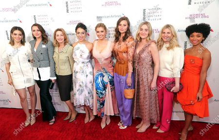 (L-R) Edy Ganem, Shantel VanDSanten, Sharon Lawrence, Jade Tailor, Brianna Brown, Aly Michalka, AJ Michalka, unknown and Logan Browning arrive on the red carpet for the Eighth Annual Women Making History Awards at the Skirball Cultural Center in Los Angeles, California, USA, 08 March 2020.