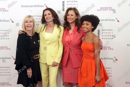 (L-R) Dr. Nancy O'Reilly, Andie MacDowell, Kelly Vlahakis and Logan Browning arrive on the red carpet for the Eighth Annual Women Making Histor Awards at the Skirball Cultural Center in Los Angeles, California, USA, 08 March 2020.