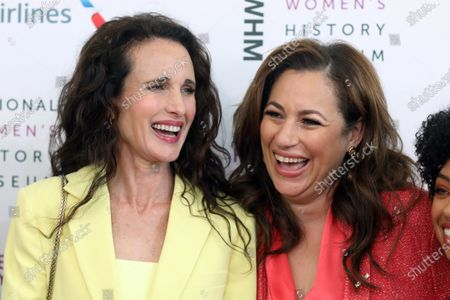 US actress Andie MacDowell (L) and president and CEO of Earth Friendly Products Kelly Vlahakis-Hanks arrive on the red carpet for the Eighth Annual Women Making Histor Awards at the Skirball Cultural Center in Los Angeles, California, USA, 08 March 2020.