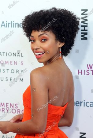 US actress Logan Browning arrives on the red carpet for the Eighth Annual Women Making Histor Awards at the Skirball Cultural Center in Los Angeles, California, USA, 08 March 2020.