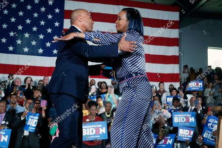 Deval Patrick, Vivica A. Fox. Former Democratic presidential candidate and Massachusetts Gov. Deval Patrick, left, is greeted by actress Vivica A. Fox as they stump for Democratic presidential candidate and former Vice President Joe Biden at Tougaloo College in Tougaloo, Miss