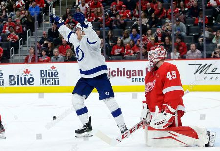 Tampa Bay Lightning center Blake Coleman, left, celebrates a goal against Detroit Red Wings goaltender Jonathan Bernier (45) scored by Lightning center Carter Verhaeghe during the second period of an NHL hockey game, in Detroit