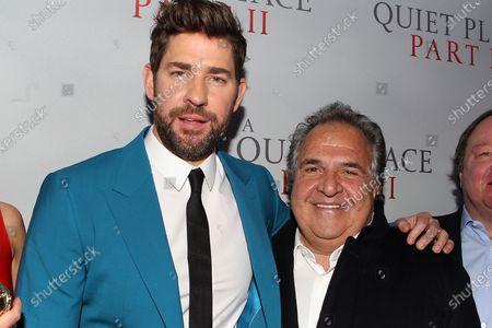 Stock Photo of John Krasinski and Jim Gianopulos (CEO; Paramount Pictures)