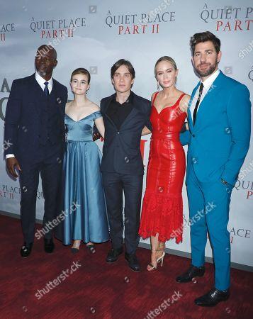 Stock Photo of Djimon Hounsou, Millicent Simmonds, Cillian Murphy, Emily Blunt and John Krasinski