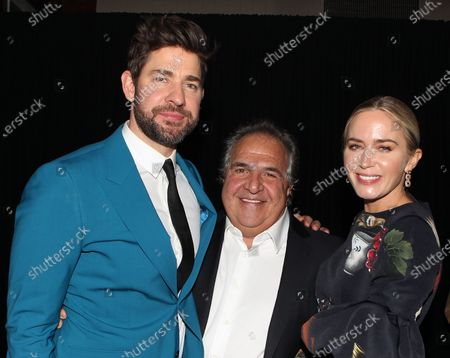 Stock Picture of John Krasinski, Jim Gianopulos (CEO; Paramount Pictures) and Emily Blunt