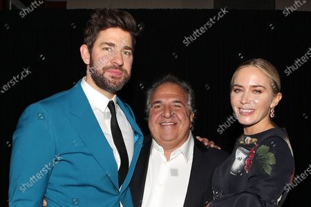 Stock Image of John Krasinski, Jim Gianopulos (CEO; Paramount Pictures) and Emily Blunt