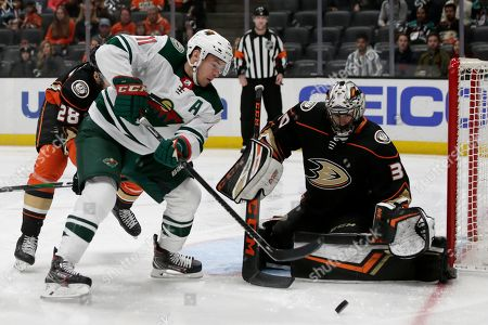 Stock Picture of Minnesota Wild left wing Zach Parise (11) gets stopped by Anaheim Ducks goaltender Ryan Miller (30) during the first period of an NHL hockey game in Anaheim, Calif
