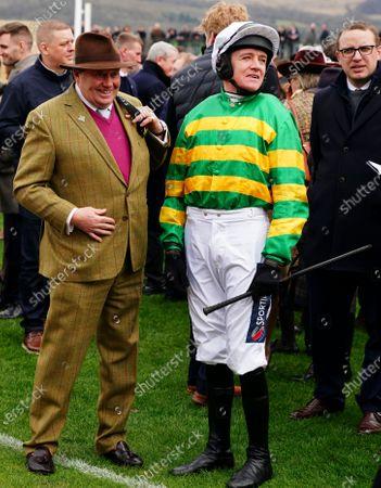 Trainer Nicky Henderson alongside Barry Geraghty