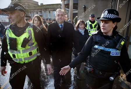 Former Scottish first minister Alex Salmond (C) departs following a preliminary hearing at the High Court in Glasgow, Britain, 18 February 2020. Alex Salmond is on trial over allegations he sexually assaulted ten women while serving as first minister of Scotland.