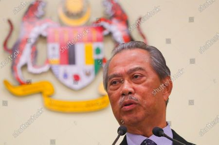 Malaysia's new Prime Minister Muhyiddin Yassin speaks during press conference at Prime Minister Office is Putrajaya, outside Kuala Lumpur, Malaysia, 09 March 2020.  Muhyiddin Yassin announce his ministers today after the Yang di-Pertuan Agong (ruling monarch of Malaysia) Abdullah of Pahang named Muhyiddin the country's new premier on 29 February 2020 following the resignation of his predecessor, 94-year-old Mahathir Mohamad, a week earlier.