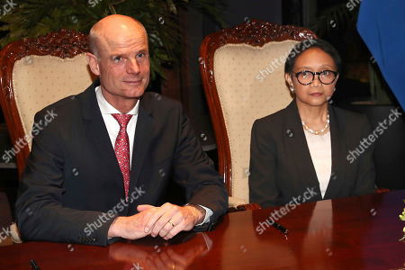 Stef Blok, Retno Marsudi. Netherlands' Foreign Minister Stef Blok,left, sits with his Indonesian counterpart Retno Marsudi prior to their meeting in Jakarta, Indonesia