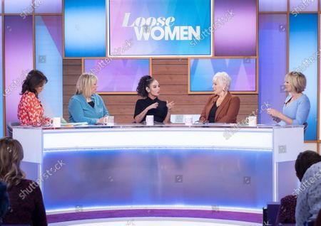 Stock Photo of Andrea McLean, Linda Robson, Tulisa Contostavlos, Denise Welch and Jane Moore