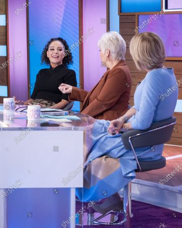 Stock Picture of Tulisa Contostavlos, Denise Welch and Jane Moore