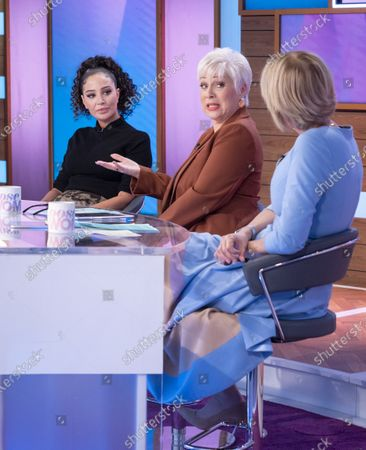 Stock Image of Tulisa Contostavlos, Denise Welch and Jane Moore