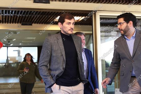 Spanish goalkeeper Iker Casillas (C) leaves the Spanish Higher Sports Council (CSD) in Madrid, Spain, 09 March 2020. Casillas met CSD president Irene Lozano after he announced his intention to run for the presidency of the Royal Spanish Soccer Federation (RFEF).