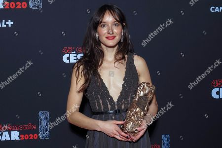 Anais Demoustier poses with the Best Actress award for the movie 'Alice et le Maire'