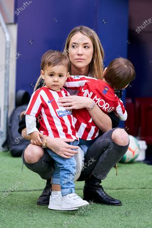 Stock Photo of Alice Campello, wife of Alvaro Morata, player of Atletico Madrid with her kids