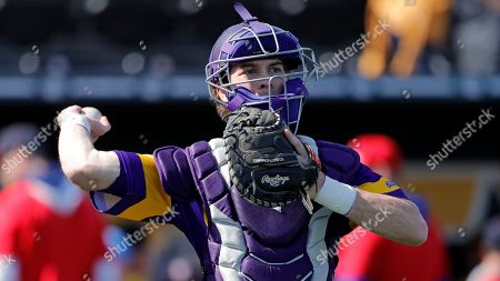 Stock Photo of Western Illinois' Tyler Stewart during an NCAA baseball game against Missouri, in Columbia, Mo