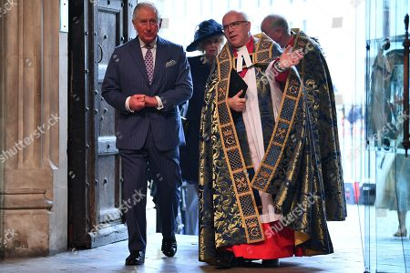 Prince Charles (L) and The Very Reverend Dr David Hoyle, The Very Reverend John Hall, attend the annual Commonwealth Service at Westminster Abbey in London